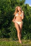 Mujer atractiva exótica en jardín tropical Fotos de archivo libres de regalías