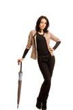 Mujer atractiva hermosa con un paraguas Fotografía de archivo libre de regalías