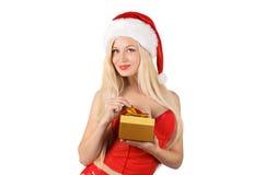 Mujer atractiva hermosa de Papá Noel Fotos de archivo libres de regalías