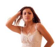 Mujer atractiva joven aislada Fotografía de archivo