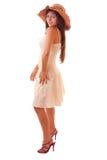 Mujer atractiva joven en el sombrero de la vendimia aislado Imagen de archivo