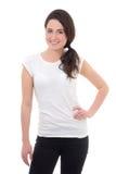 Mujer atractiva joven en la sonrisa blanca de la camiseta aislada en pizca Fotos de archivo