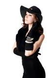 Mujer atractiva joven en negro Foto de archivo libre de regalías