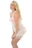 Mujer atractiva joven hermosa que lleva a Lacy See Through Mini Dress Fotos de archivo