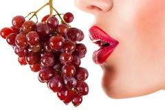Mujer atractiva que come las uvas rojas, labios rojos sensuales Fotos de archivo libres de regalías