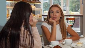 Mujer atractiva que habla con su mejor amigo en la cafetería almacen de video