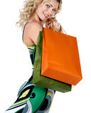 Mujer atractiva que hace compras Fotografía de archivo