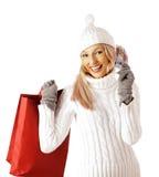 Mujer atractiva que hace compras Foto de archivo libre de regalías