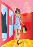 Mujer atractiva que hace compras Fotografía de archivo libre de regalías