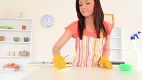 Mujer atractiva que limpia la cocina almacen de video