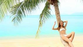 Mujer atractiva que miente en la palmera en la playa almacen de metraje de vídeo