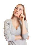 Mujer atractiva que piensa en el futuro Fotografía de archivo
