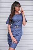 Mujer atractiva que presenta en vestido del negocio con los vidrios que miran la cámara Fotos de archivo libres de regalías