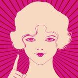 Mujer atractiva que señala con el dedo índice Foto de archivo