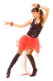 Mujer atractiva que señala en danza Imagen de archivo libre de regalías