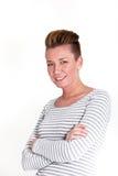 Mujer atractiva sonriente con un peinado moderno imagen de archivo libre de regalías