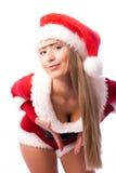 Mujer atractiva vestida como Santa Imagenes de archivo