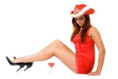 Mujer atractiva y vino rojo Imagen de archivo