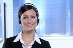 mujer, auriculares, centro de llamada Fotografía de archivo