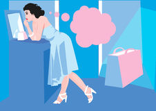 Mujer azul Imagen de archivo libre de regalías