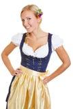 Mujer bávara feliz en dirndl Imagen de archivo libre de regalías
