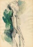 Mujer-bailarines 2, drenando Fotografía de archivo libre de regalías