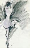 Mujer-bailarines, drenando Imagenes de archivo