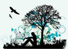 Mujer bajo árbol Stock de ilustración