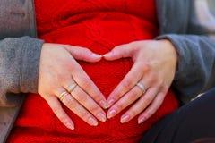 Mujer bastante embarazada en la presentación roja en parque verde Mujer joven 15 Fotos de archivo