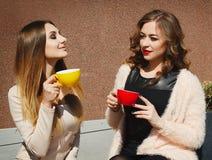 Mujer bastante feliz de dos jóvenes que se sienta al aire libre y coffe de consumición Foto de archivo