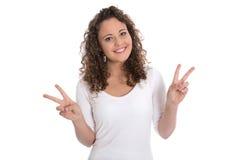Mujer bastante joven aislada en blanco: símbolo con los fingeres para el PE Fotografía de archivo