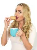 Mujer bastante joven atractiva que come una galleta que sostiene una taza azul de té Imagenes de archivo