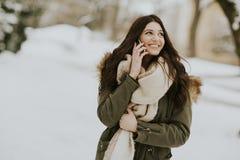 Mujer bastante joven con el teléfono móvil en un día de invierno Imagen de archivo