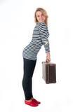 Mujer bastante joven con la maleta Foto de archivo
