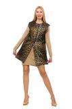 Mujer bastante joven en el chaleco del leopardo aislado en fotos de archivo
