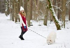 Mujer bastante joven en el invierno Forest Walking con su samoyedo del blanco del perro imagen de archivo libre de regalías