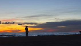 Mujer bastante joven que camina por la costa en una puesta del sol hermosa metrajes