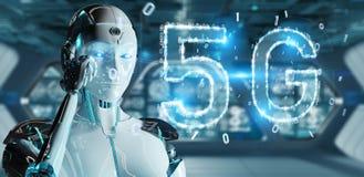 Mujer blanca del cyborg que usa renderin digital del holograma 3D de la red 5G ilustración del vector