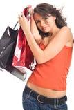 Mujer bonita con el bolso de compras imágenes de archivo libres de regalías