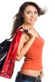 Mujer bonita con el bolso de compras imagen de archivo libre de regalías