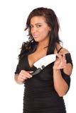 Mujer bonita con el cuchillo grande Imagenes de archivo