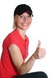 Mujer bonita con el dedo ACEPTABLE Imagen de archivo