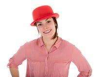 Mujer bonita con el jugador de bolos rojo, aislado sobre blanco Fotos de archivo