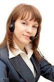 Mujer bonita con el micrófono Imagen de archivo libre de regalías
