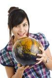 Mujer bonita con la bola de bowling Foto de archivo libre de regalías