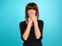 Mujer bonita con la expresión surpised de la cara Fotos de archivo libres de regalías