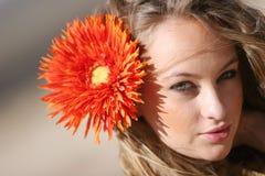 Mujer bonita con la margarita Fotos de archivo libres de regalías