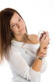Mujer bonita con las gotas blancas Fotografía de archivo