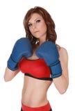Mujer bonita con los guantes del boxe Fotografía de archivo