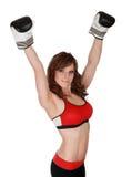 Mujer bonita con los guantes del boxe Imagen de archivo libre de regalías